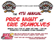 4th Annual Pride Night at Erie Seawolves on July 17