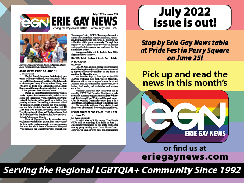 Pickup the latest issue of Erie Gay News!